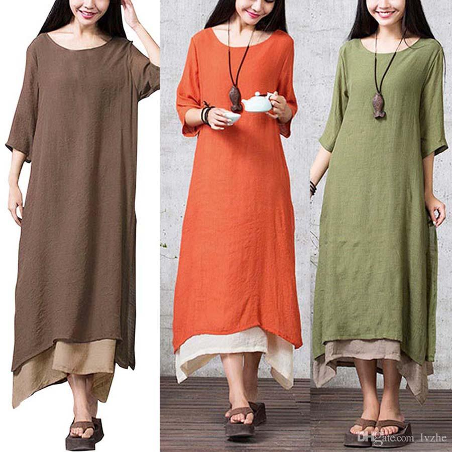 1a6d5fa35ec4 New Womens Ladies 3 4 Sleeve Cotton Linen Baggy Loose Casual Long Dress  Kaftan Plus Size White Dresses White Dress From Lvzhe999