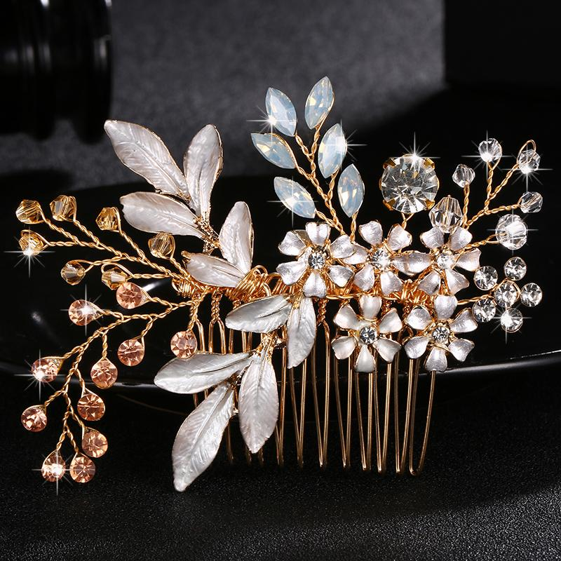 Fashion Austria Crystal Stone Hair Combs Handmade Wedding Hairpins Women Hair Jewelry Clips Colorful Bridal Accessories JCH039