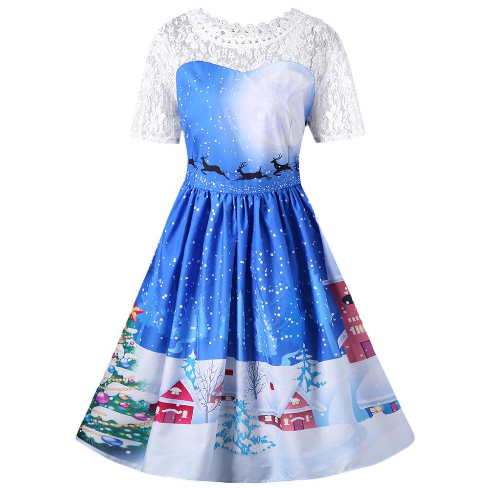 b0c695ef71ca 2019 Wipalo Christmas Lace Insert Sleeveless Party Dress Women 2017 Cute  1950s Autumn Vintage Robes Femme Plus Size 5XLVestidos From Yyliang, ...