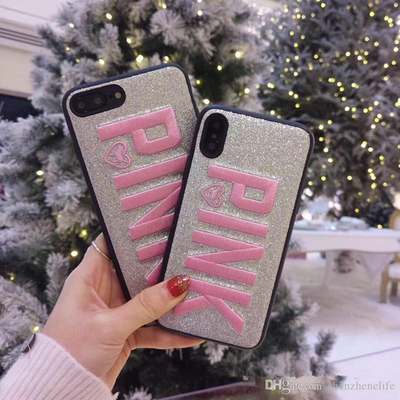 Hot Shining Pink Embroidery Phone Back Cover Case for iphoneX Quality TPU Luxury Shell Cases for Huawei P10Lite