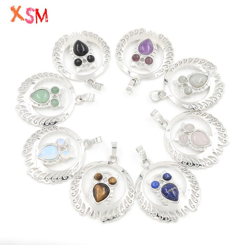 xinshangmie Silver Plated Natural Amethysts Rose Pink Quartzs Opal Fashion Hollowed Out lace Owl Pendant Women Charm Jewellery