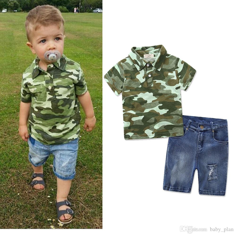 80a0f0a7c3668 2019 2018 Summer Toddler Boy Clothes Sets Tracksuit Camouflage Tshirts  Denim Shorts Suit Baby Boy Clothes Jean Pants Kids Boutique Clothing From  Baby plan