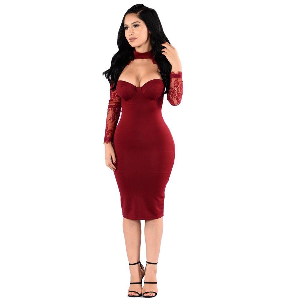 aecc0a66 2019 Nueva Moda Sexy Otoño Mujer Vestido de Fiesta Floral de Encaje Cortar  Cuello alto Vaina Casual Party Club Vestido ajustado Negro / Rojo