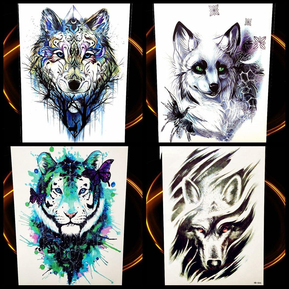 Wolf Design Temporary Tattoo Stickers Men Large Body Art Flash ...