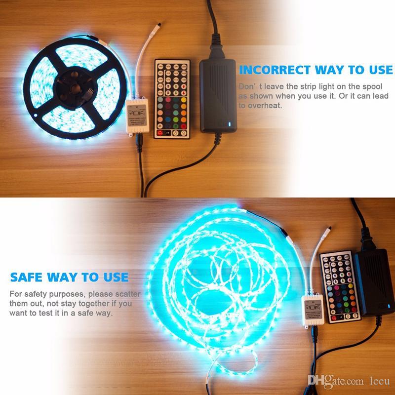 5M SMD5050 RGB LEDストリップ30LED / M DC12V防水300LEDS + 44キーRGB LEDコントローラ+ 12V 5A 60W電源アダプタ