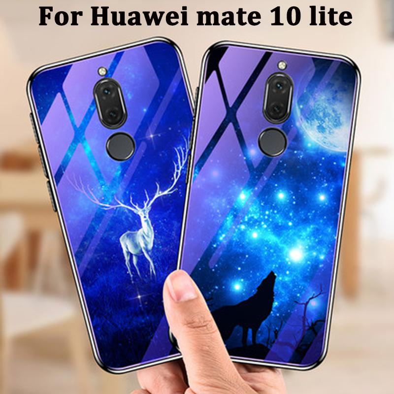 salvare 26d16 11ae2 For Huawei mate 10 lite case cover blue Tempered Glass back cover For  Huawei mate10 lite phone cases mate 10lite coque cover