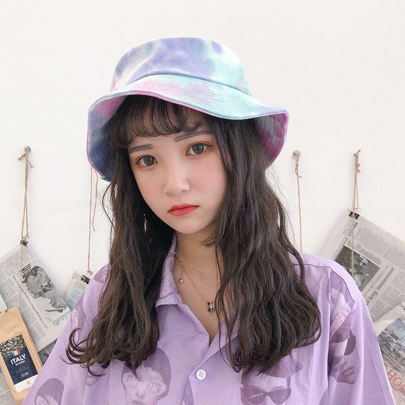 2955b256453d3 2018 bts ulzzang harajuku cubo sombreros mujeres tendencia de la moda  coreana dulce corbata retro teñido hip hop sombrero de pescador sombrero de  verano ...