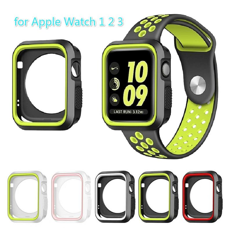 official photos f5fc6 6029e Soft Silicone Case for Apple Watch iWatch series 3 2 1 Rugged Protective  Slim Dual Colors TPU Cases Cover 38mm 42mm Watch Accessories