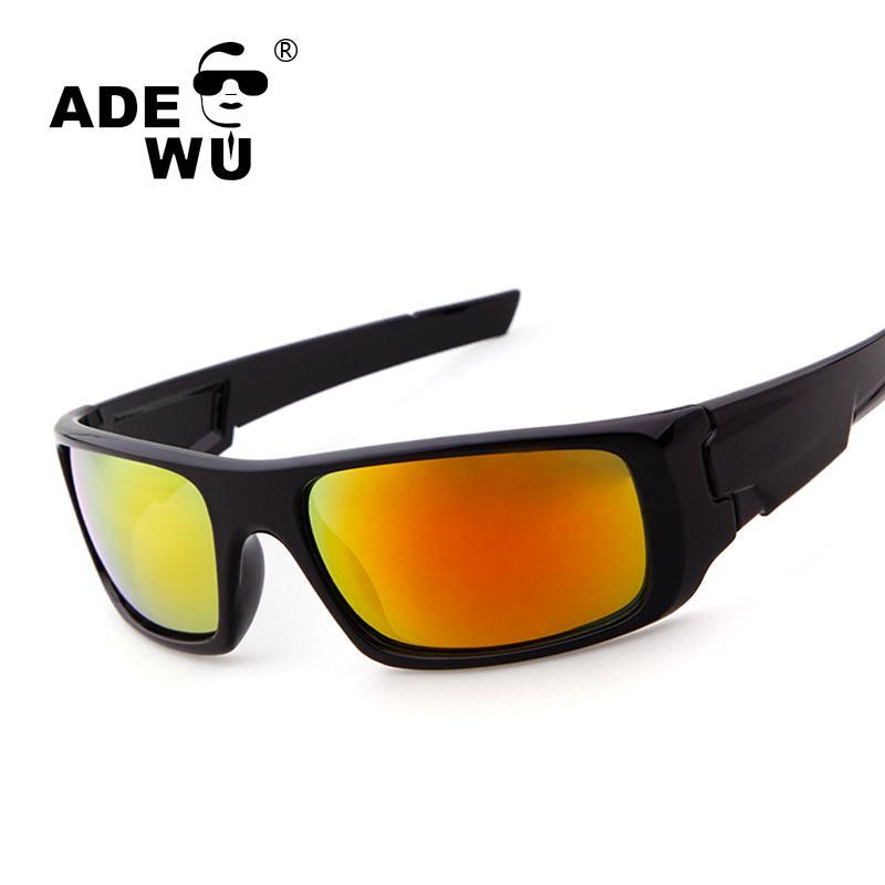 98a40bb74e0b ADE WU Band Men's Sport Sunglasses Goggle Glasses Frame Luxury O Coating Mirror  Sun Glasses For Male Men Driving Ride Sunglass Mirror Sun Glasses Sun ...