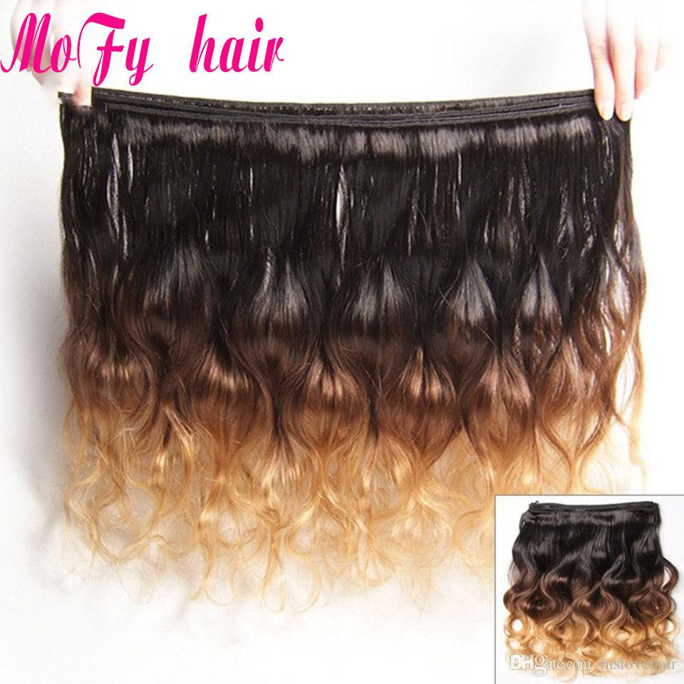 Ombre Virgin Human Hair Extensions Brazilian Peruvian Malaysian Indian Body Wave 3 Three Tone Brown Blonde 1B/4/27 Ombre Hair Body Wave