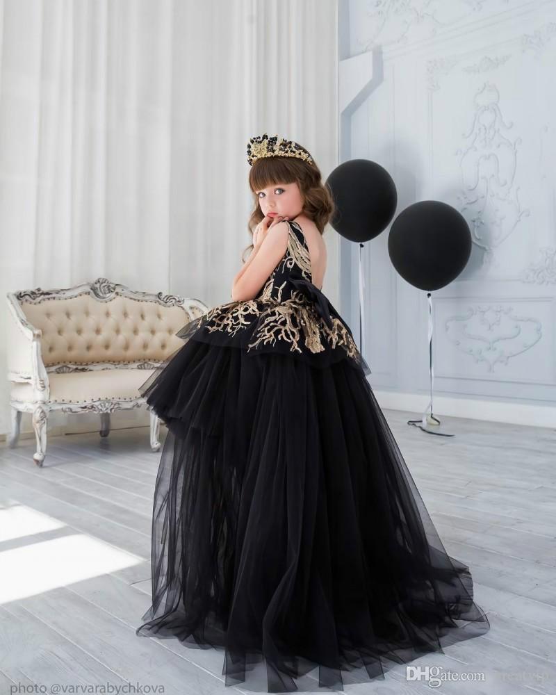 Noir Haute Basse Paillettes Fleur Filles Robes 2019 Plage Tulle De Mariage Filles Pageant Robe Pas Cher Robes De Soirée Pour Les Adolescents