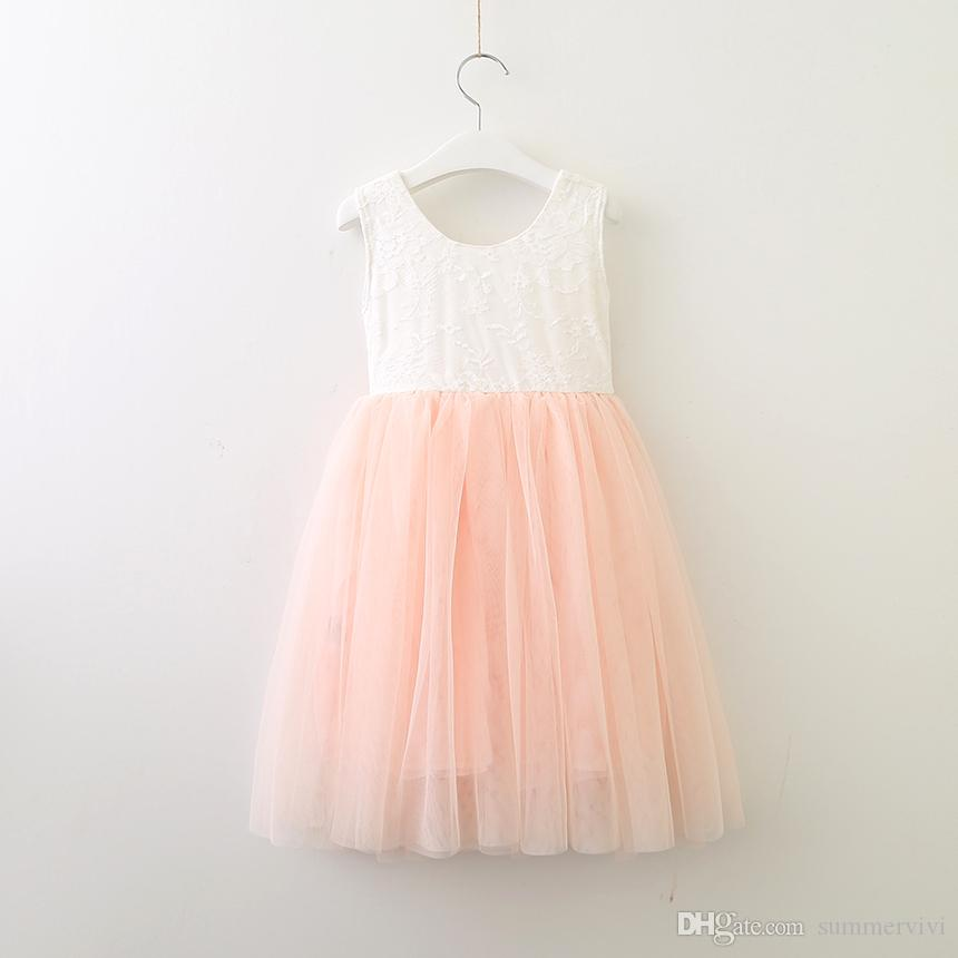 2018 Summer New Girls Lace Vest Princess Dress Kids French Rose Lace Back V  Neck Party Dress Children Peach Bows Belt Tulle Tutu Dress A0050 UK 2019  From ... 710aa8f8224f