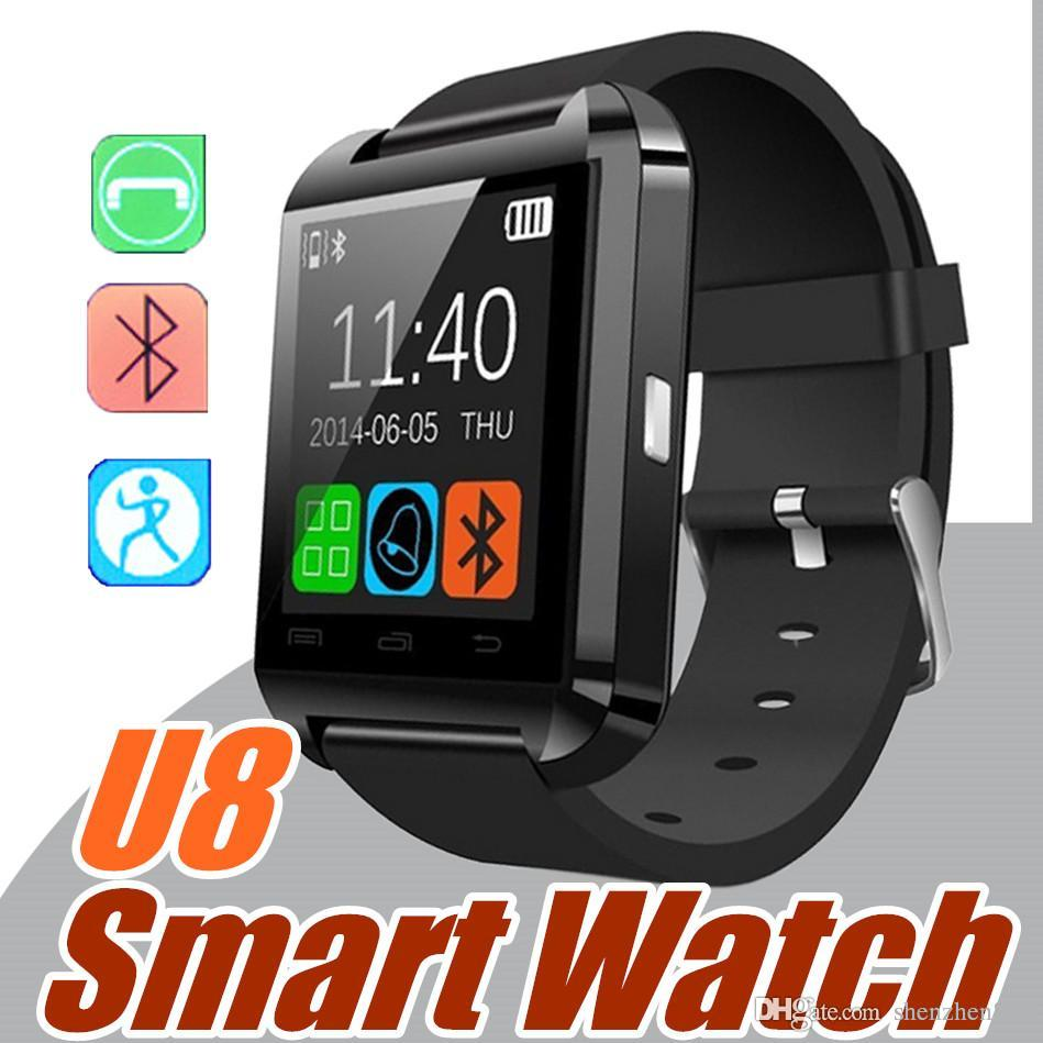 Smartwatch 30X Bluetooth Smart Watch U8 da polso per iPhone 4 4S 5 5S 6 6S 6 plus Samsung S4 S5 S8 Note 2 3 7 8 Smartphone Android Phone A-BS