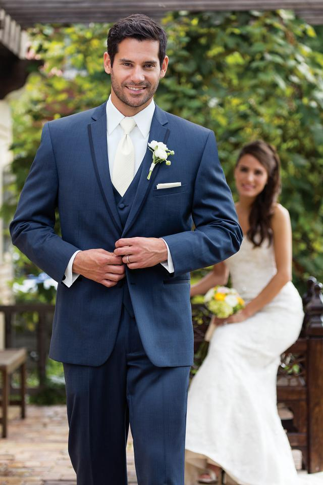 2018 Custom Made Navy Blue Men Suits for Wedding Groom Tuxedo Classic Fit Men's Blazers Jacket Pants Vest 3 Piece Prom Wear
