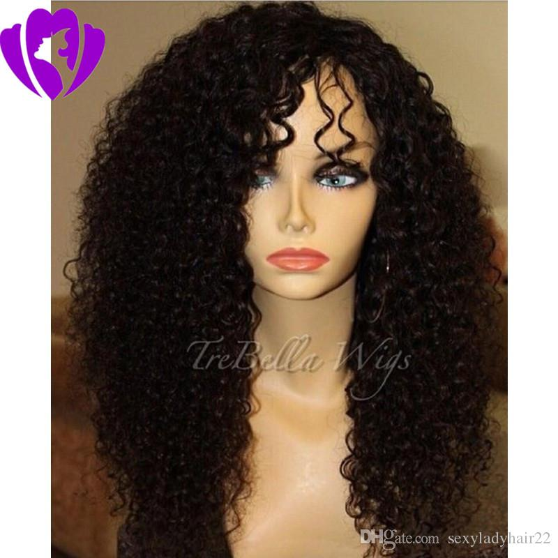 side part Kinky Curly Synthetic Lace Front Wigs For Women Black Hair Hand Tied African American Wigs with baby hair