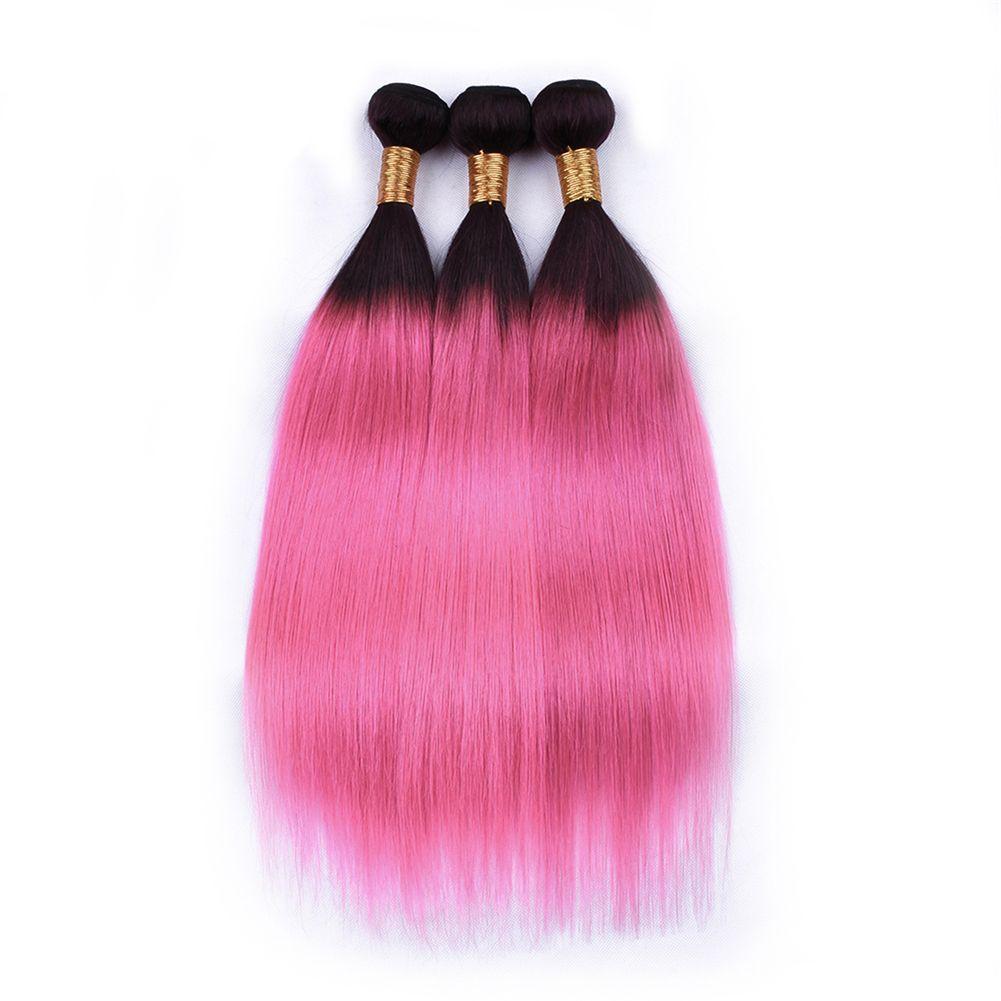 Dunkles Wurzel-Ombre-Rosa-Haar bündelt mit Spitze Frontal Brasilianisches seidiges gerades 1B rosa Haar mit dem Ohr zur Ohr-vollen Spitze Frontal 13 * 4