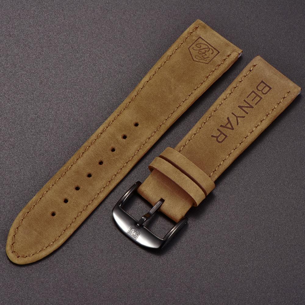 e73b8c00e6bc4 Compre Original Benyar Watchbands Correa De Ancho 22mm Correa De Cuero  Universal Reloj Pulsera Bandas A  17.67 Del Fashionable16
