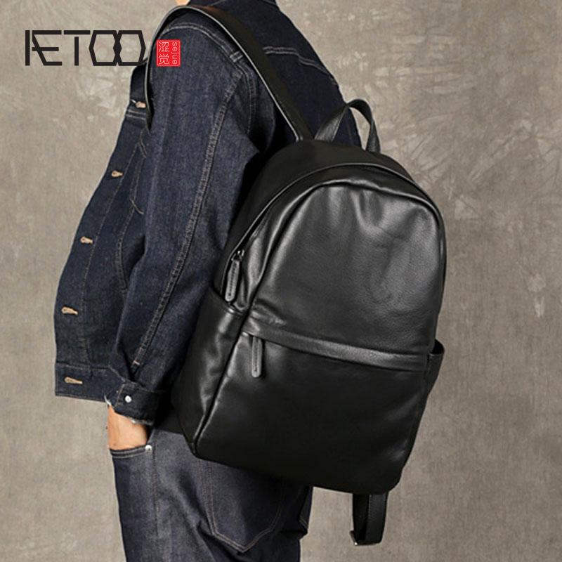 71d818bbb7cd AETOO The First Layer Of Leather Men S Shoulder Bag Leather Computer Bag  Casual Trend Travel Backpack Simple Soft Toddler Backpack Kelty Backpack  From ...