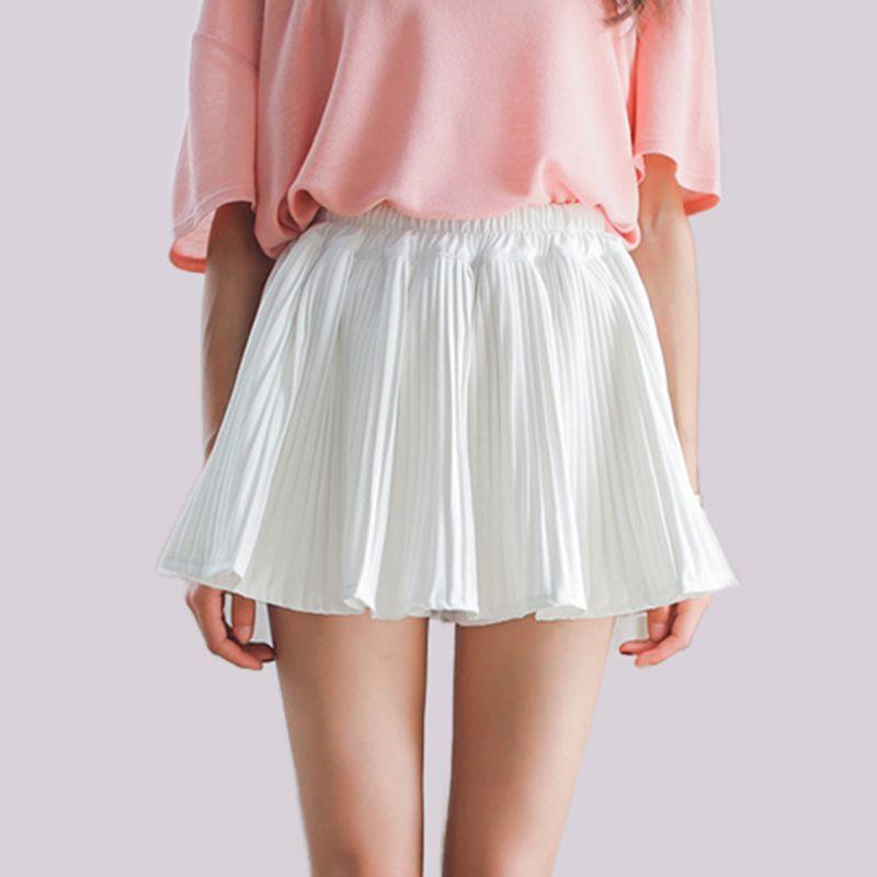 81a89d02a37d6f Pas cher sous $ 10 femmes jupes taille élastique une ligne au-dessus du  genou mini jupe courte plissée jupe en mousseline de soie avec doublure  2016 ...