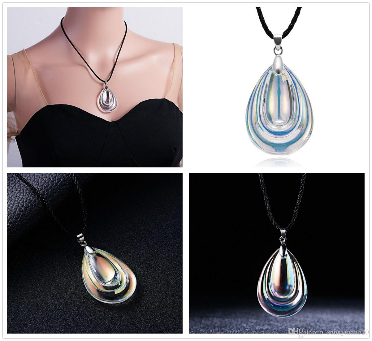 a03e988bd Wholesale Fashion Women Colorful Water Drop Shape Artificial Crystal  Pendant Necklace Jewelry Home Party Lovely Gifts Necklace Charms Charms For  Bracelets ...