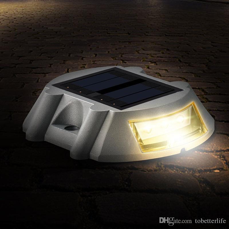 Solar Powered Road Stud deck light Driveway Pathway Stair Lights Studs marker Pathway light 6 LED White Red Blue Yellow