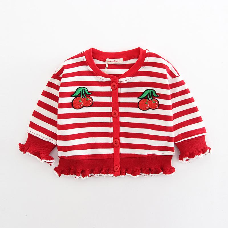 f5fb8e63da47 Girl Shirt Cute Striped Round Neck Single Breasted Knit Fruit ...