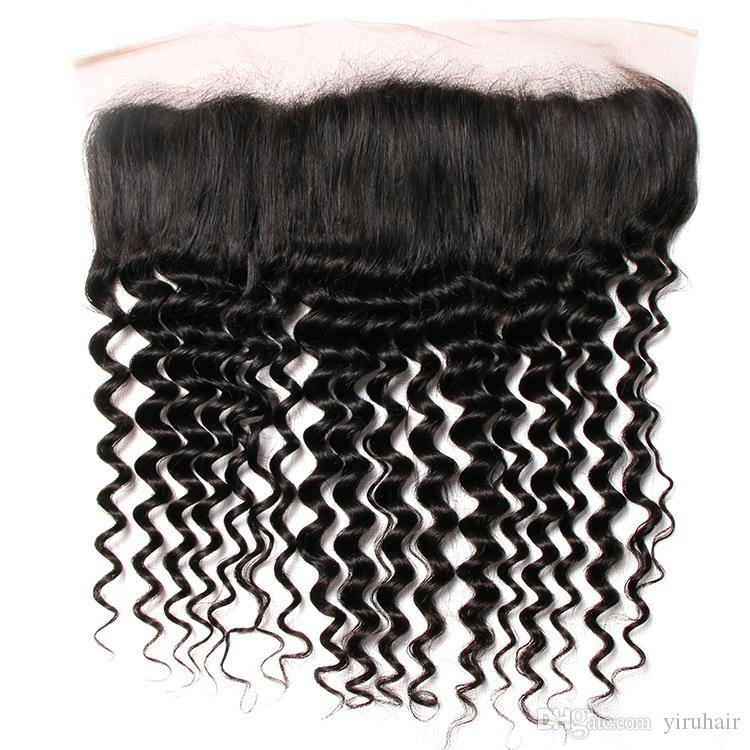 Brésilien Cheveux Vierge 13x4 Dentelle Frontal avec bébé cheveux pré plumé oreille à l'oreille droite vague de corps cheveux crépus droite vague profonde bouclés