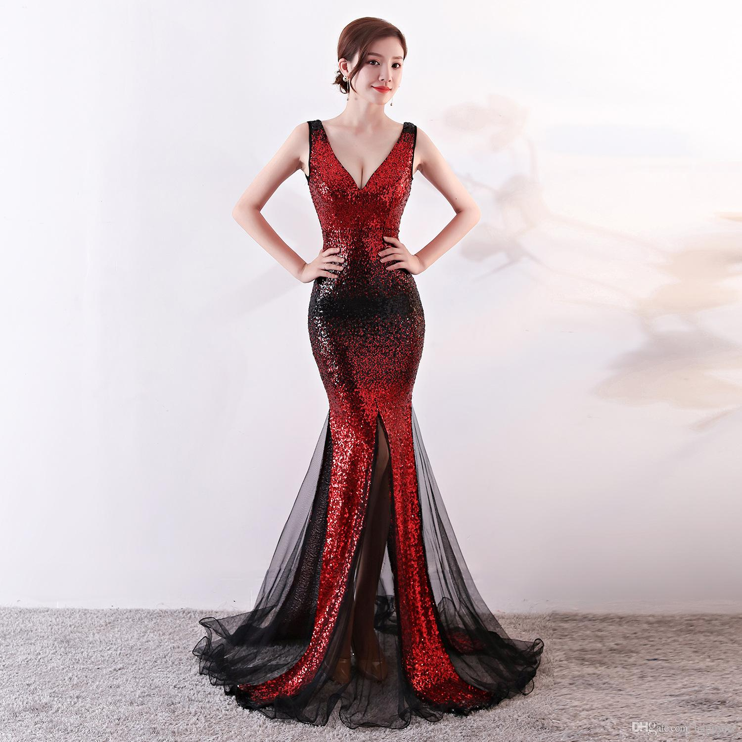 Sequined V Neck Mermaid 2018 New Women S Elegant Long Gown Party Prom For  Gratuating Date Ceremony Gala Evening Dresses A08 Long Black Evening Dresses  Long ... 637340161b67