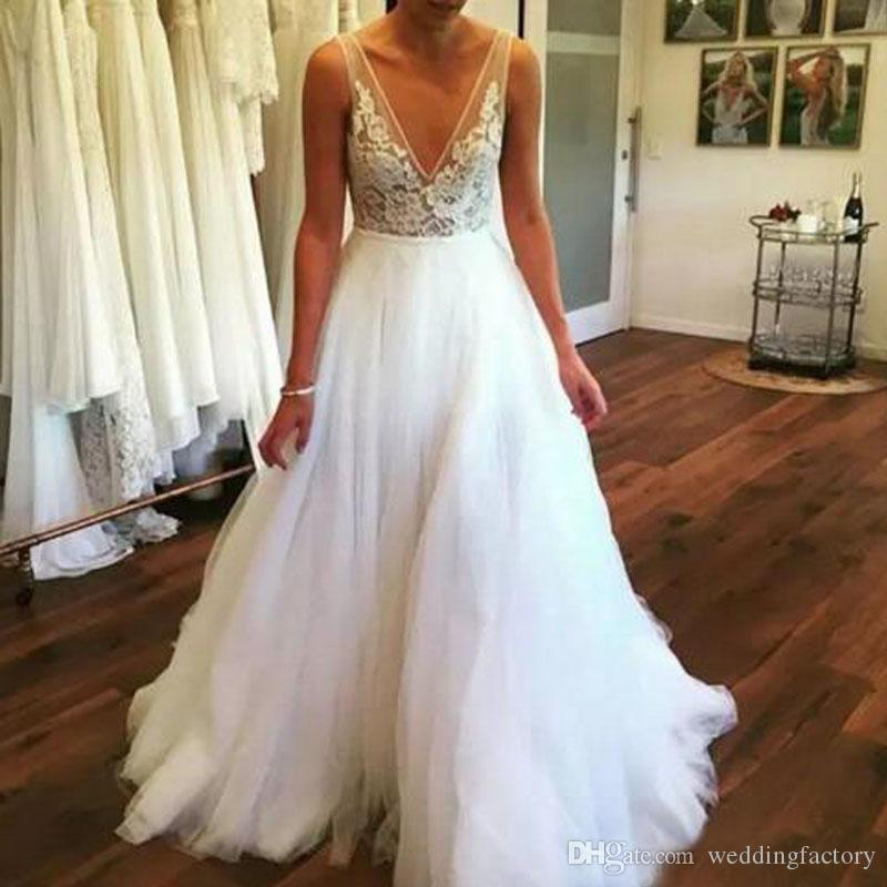 Sexy Deep V Neck Bohemian Beach Wedding Dresses Sheer Lace Appliques Floor Length Tulle Plus Size Custom Made Summer Boho Bridal Gowns