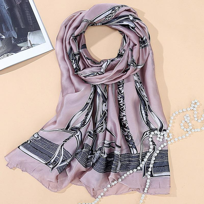Hancreate silk scarf women beautiful chain print long size 180*90cm summer beach scarves shawl sunscreen pashmina office cape
