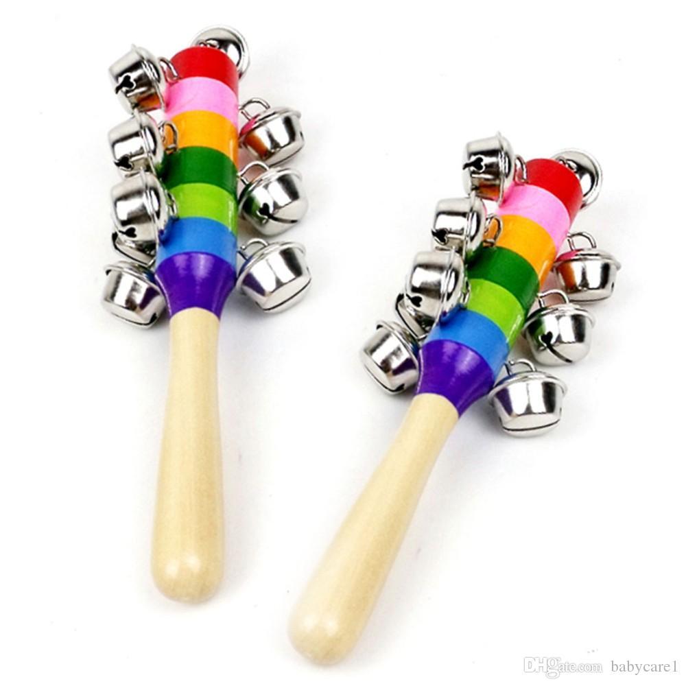 1 Stück Holzstab 10 Jingle Bells Regenbogen Hand schütteln Bell Rasseln Baby Kinder Kinder pädagogisches Spielzeug - zufällige Lieferung