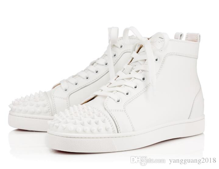 08b6be2e934 2018 New Arrival Famous Brand Mens Women White Leather   White Spikes High  Top Red Bottom Sneakers