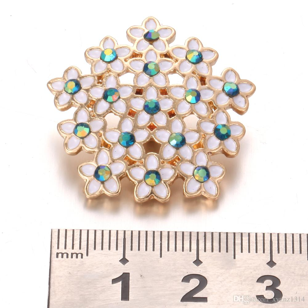 New Snap Jewelry Big Rhinestone Flowers Metal Snap Buttons Fit 18mm Snap Bracelet Bangles DIY Noosa Buttons