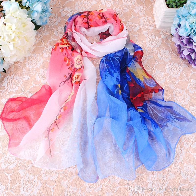 2017 Hot Selling Top Quality Classic European Designer Womens Life Flower Print Georgette Scarf Elegant Ladies Wrap
