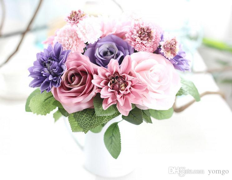 Best Artificial Flowers Bouquet 10 Head Rose Dahlia Fall Vivid Fake ...