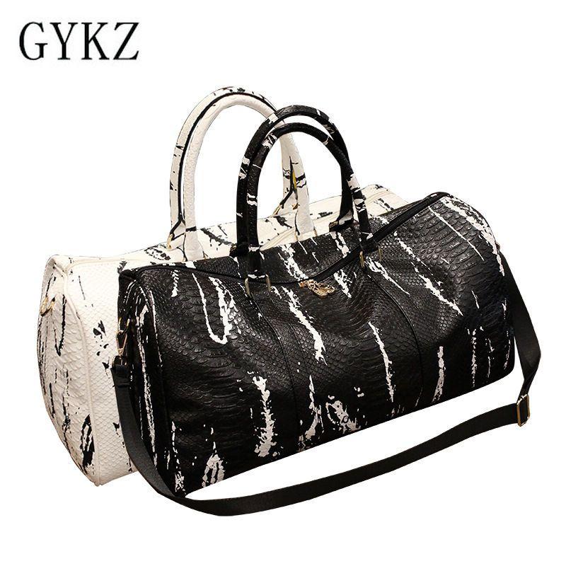80dc8ee5c092 GYKZ Korean Style Serpentine Leather Travel Crossbody Bag Shoulder Bags  Women And Men Portable Sport Gym Bag Fitness HY039
