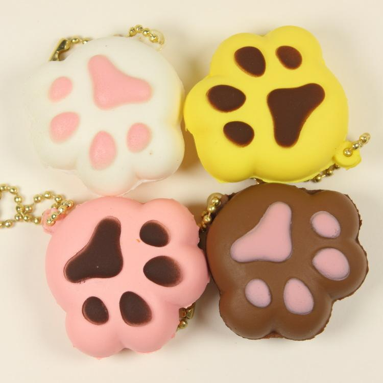 100PCS mini squishy slow rising 5CM kawaii Bear's paw Cat paw scented handbag phone charm non-toxic child's squeeze toys squish