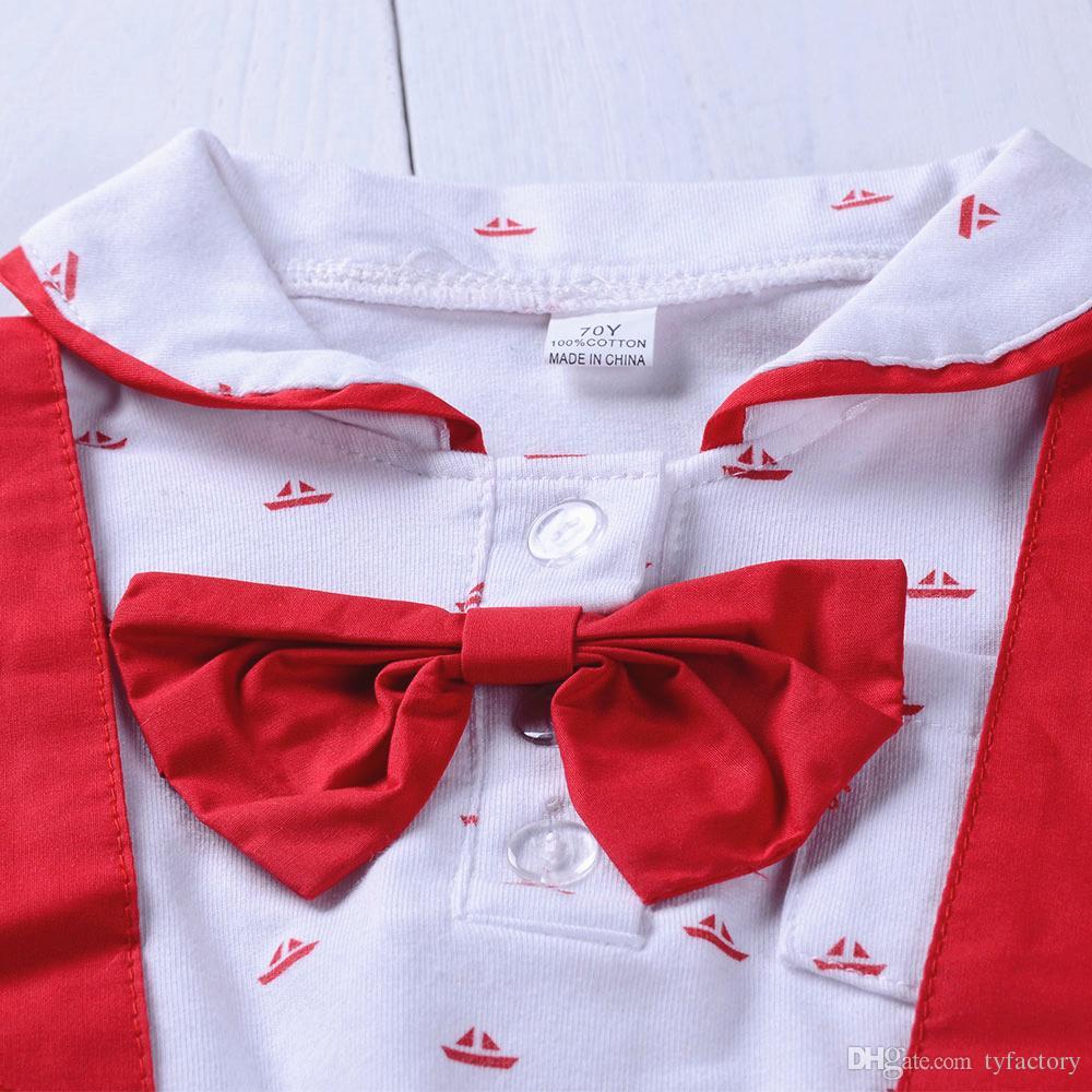Bebê recém-nascido menino terno macacão macacão + calças suspensórios calções conjunto roupa bebê crianças meninos roupas com gravata borboleta verão terno vermelho preto