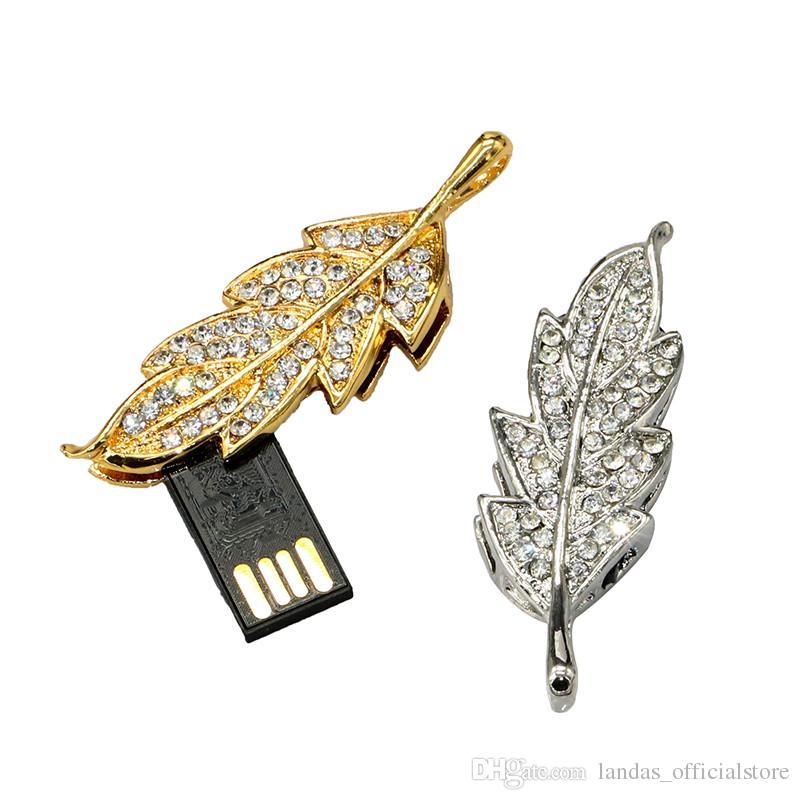 Diamond Metal Leaf Shape USB Flash Drive 64GB Pen Drive 32GB 16GB 8GB 4GB USB 2.0 Flash Memory Disk Pendrive with Chain memory stick