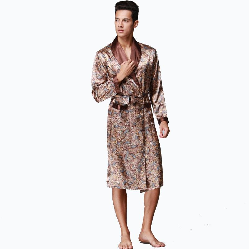2018 Men\'S Silk Satin Bathrobe Robe Long Sleeve Silk Pajamas Men ...