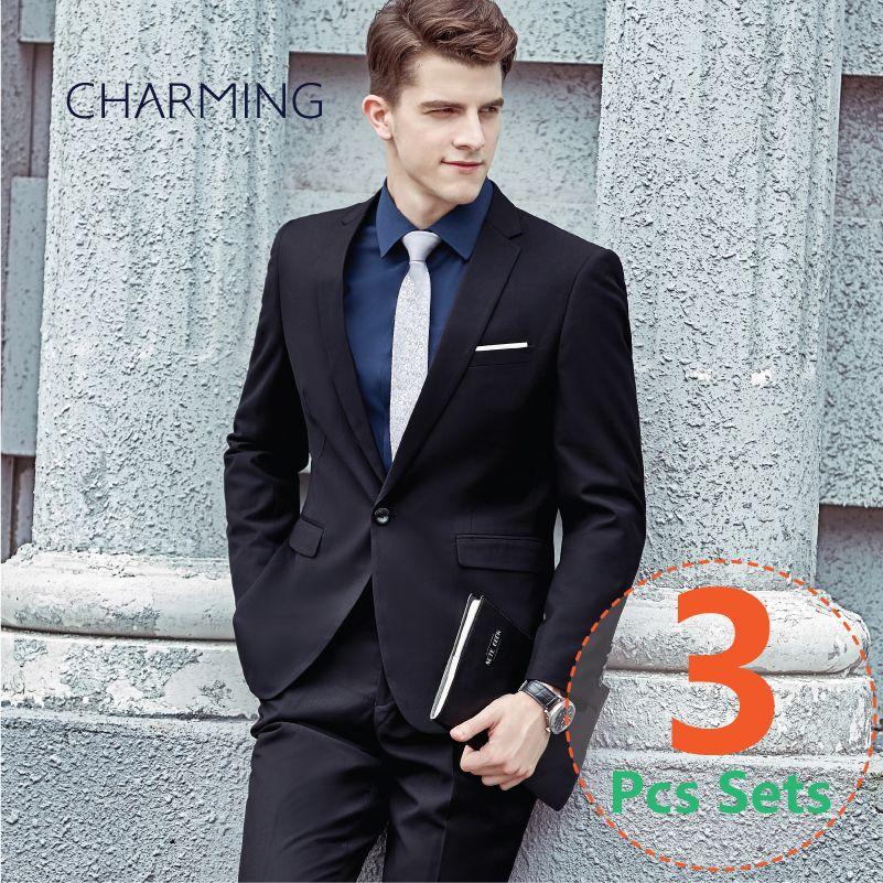 f2537bbb9db Black Suit Mens Business Attire Mens Slim Fit Suits Suitable For Business  Suits For Men Mens Wedding Suits SuitsJacket + Vest + Pants Burgundy Dinner  Jacket ...