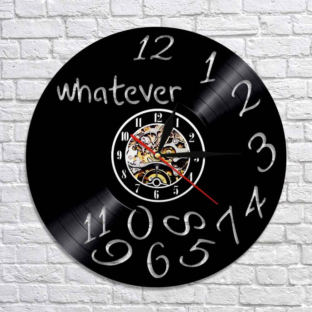 Whatever Clock Vinyl Record Wall Clock With Colorful Backlight Funny