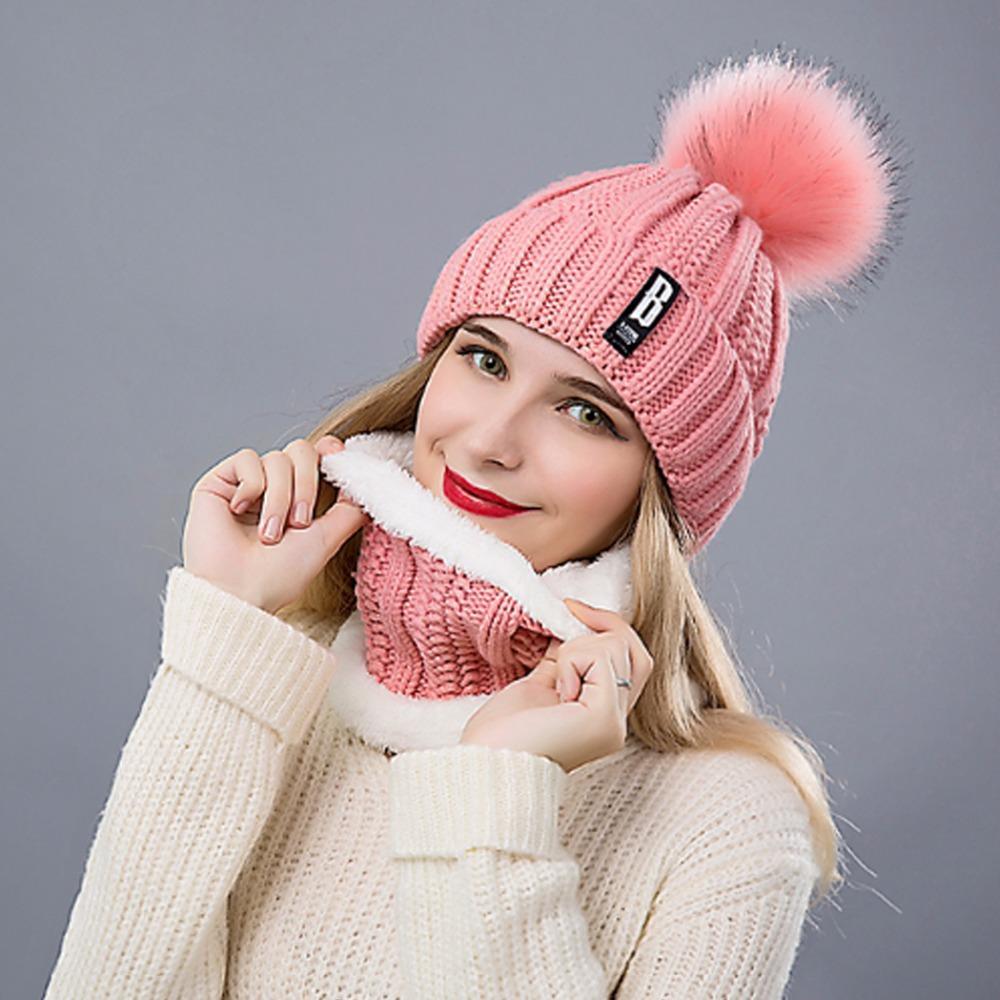 Compre Bufanda Del Sombrero Caliente Del Invierno Fijado Para Las Muchachas  De Las Mujeres Nueva Moda Gorros Anillo Bufanda Pompoms Sombreros Gorras  Tejidas ... 01e8ed381b5