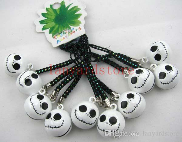 Hot! 20pcs Classic cartoon image The head of a ghost Cell Phone Charm colour Strap Human skeleton Keychains Mixed Small Bell Charm