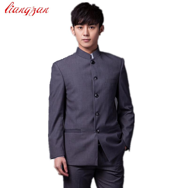 2019 Jackets+Pants Men Chinese Tunic Suit Sets Slim Fit Cotton Party ...