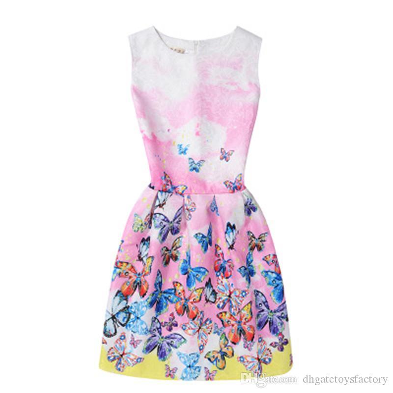 La nuova gonna elegante del A-line delle ragazze di arrivo i vestiti del partito dei bambini Lolita sopra il pannello esterno adorabile dei vestiti floreali dal ginocchio libera il trasporto