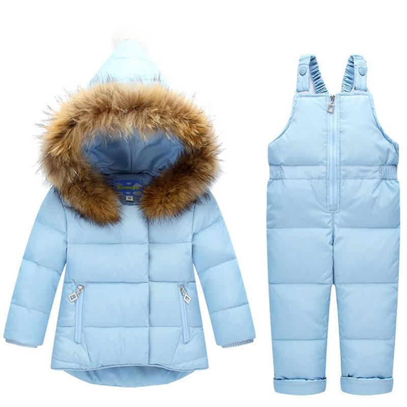 Çocuk Giysileri Rüzgar Geçirmez Rusya Sıcak Kalın Aşağı Kapşonlu Palto Kabanlar Çocuk Bebek Kız Erkek Ceketler Snowsuit Coat + ...