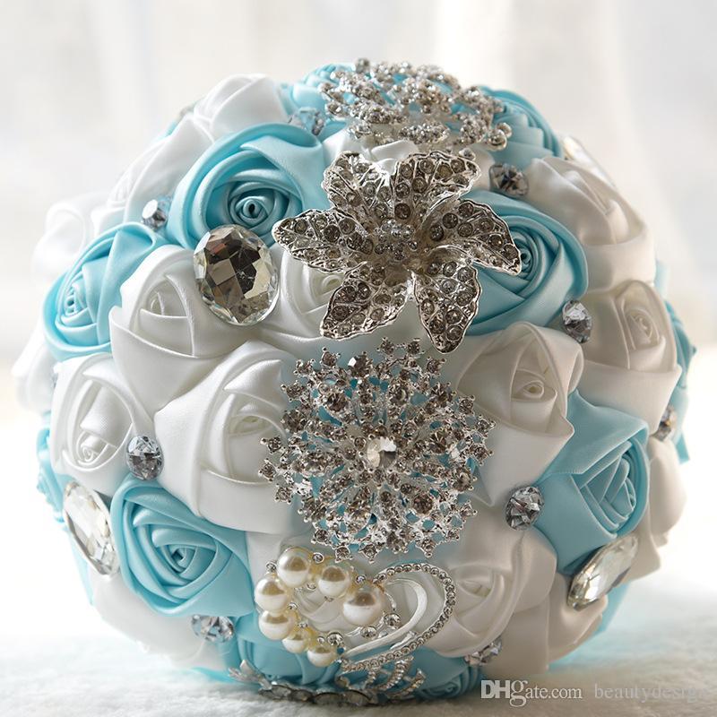 Grosshandel Ribbon Hochzeit Blumen Satin Brautstrausse Ramos De Novia