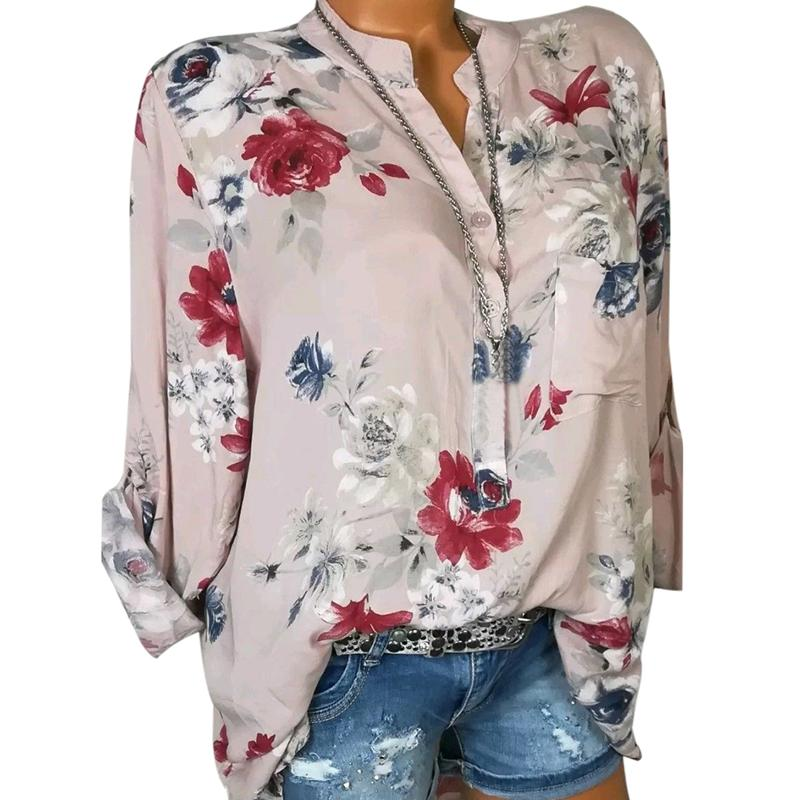 a03bad71c08cf 2018 New Women Running Shirts Long Sleeve V Neck Autumn Floral Print Loose  Beach Tops Plus Size 5XL Jogger Blouse Gym Clothing