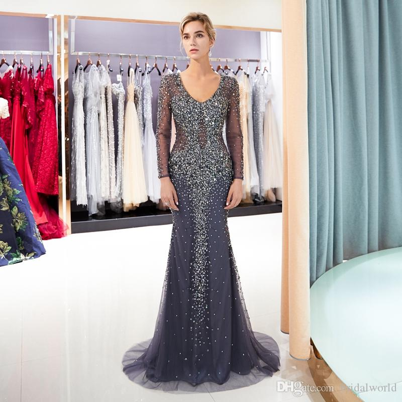 Long Sleeves Evening Dresses Dark Gray Beaded Sequined Shiny Sexy Mermaid  Prom Gowns Gold Handwork Deep V Neck Formal Party Gowns 2018 Evening Dresses  Uk ... 813610af8900